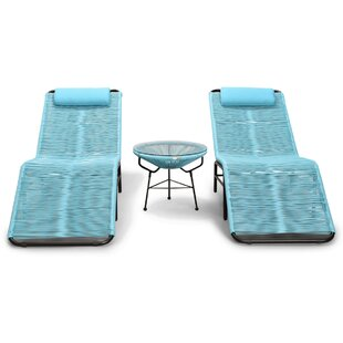 Ehrlich 3 Piece Chaise Lounge Set with Table
