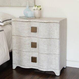 Studio A Home Toile Linen Bedside 3 Drawer Chest