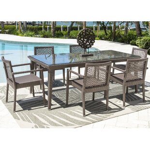 Maldives 7 Piece Dining Set with Sunbrella Cushions (Set of 7) by Panama Jack Outdoor