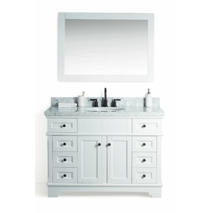 Coeur d'Alene Solid Wood 49 Single Bathroom Vanity Set with Mirror by Laurel Foundry Modern Farmhouse