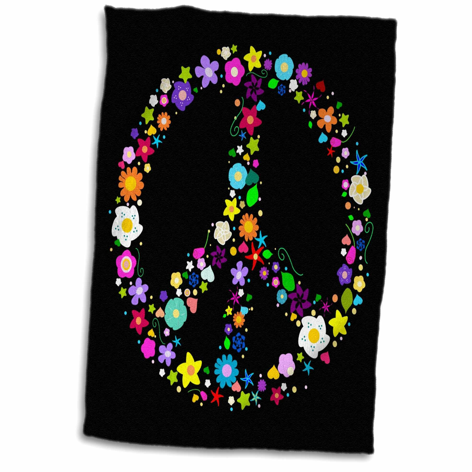 Symple Stuff Gwaltney Floral Peace Symbol Flowery Hippy Or Hippie Sign Hand Towel Wayfair