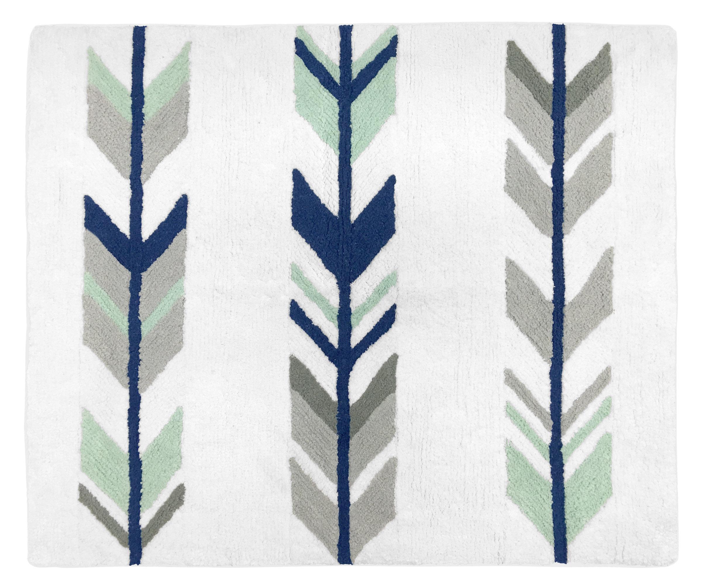 Mod Arrow Cotton Blue Gray Area Rug
