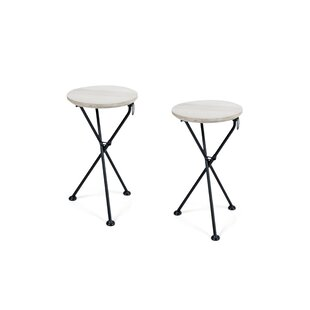 Marlatt Folding Wooden Side Table (Set of 2)