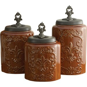 Wonderful 3 Piece Kitchen Canister Set. Antique Brown Cream