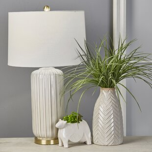 Liveva Ceramic Fluted Column 29 Table Lamp
