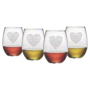 Fancy Hearts 4-Piece 21 oz. Stemless Wine Glass Set (Set of 4)