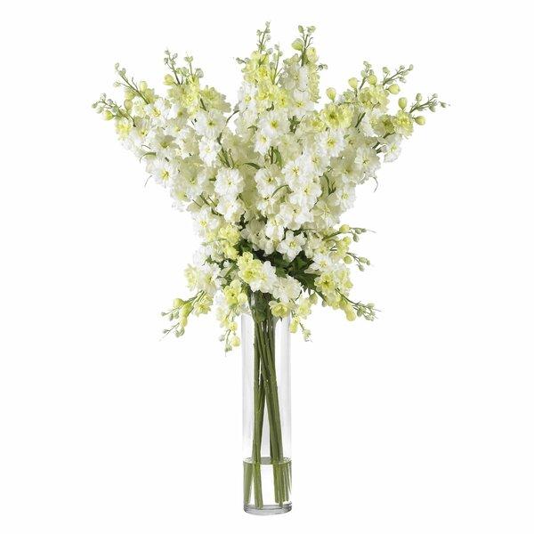 nearly natural delphinium silk flower arrangement in white u0026 reviews wayfair