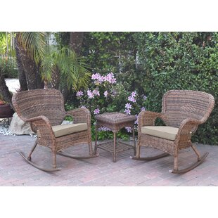 Jaylyn 3 Piece Rattan Conversation Set With Cushions by Mistana New Design