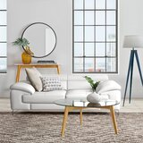 Modern & Contemporary White Leather Curved Sofa | AllModern