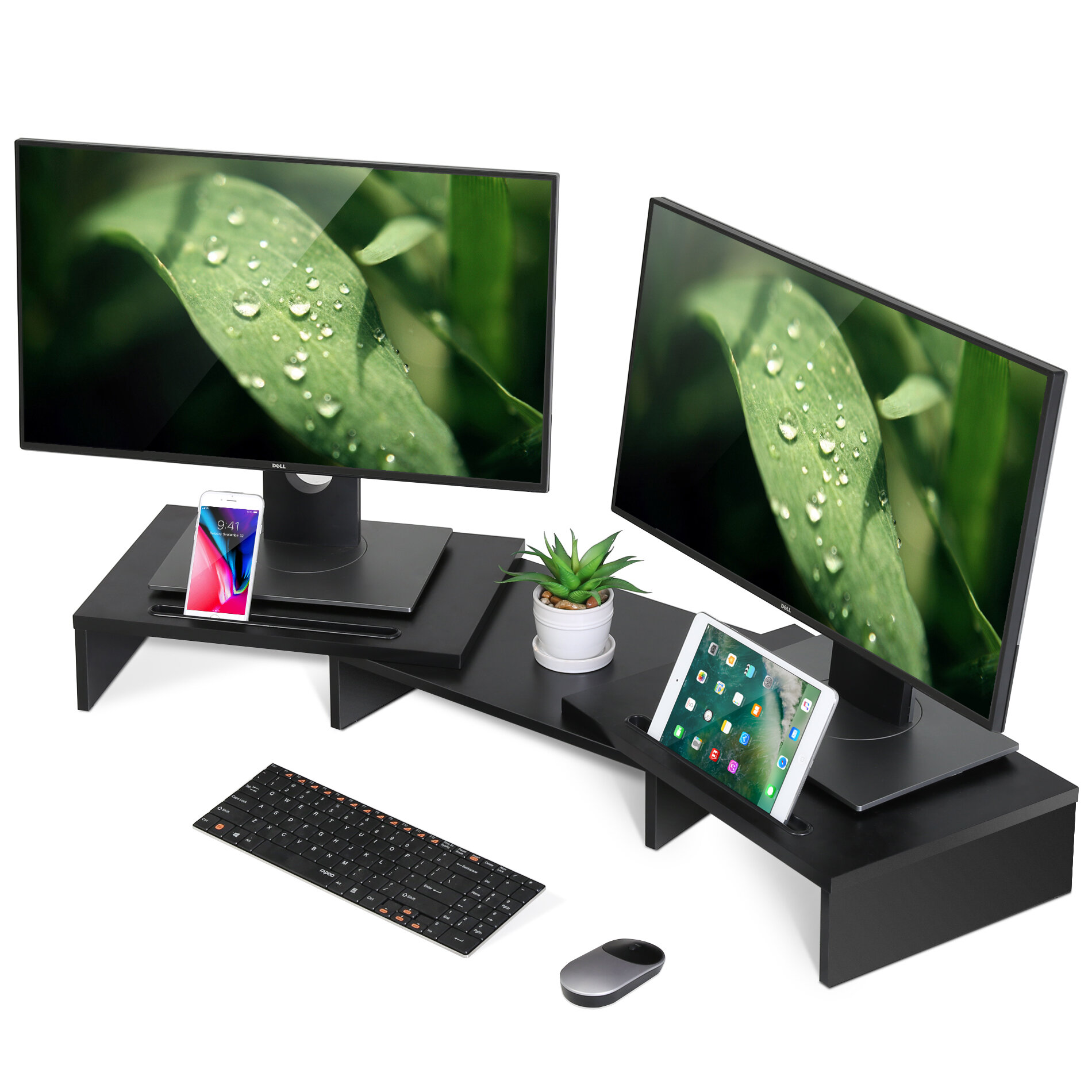 Cooling Ventilated Anti-Slip Ergonomic Portable Monitor Riser Aluminum Notebook Stand Suitable for Bedroom Office Living Room-Black Laptop Stand