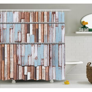 Ariadne Rustic Long Wooden Planks Tree Designs on With Rusty Metal Screws Artwork Single Shower Curtain