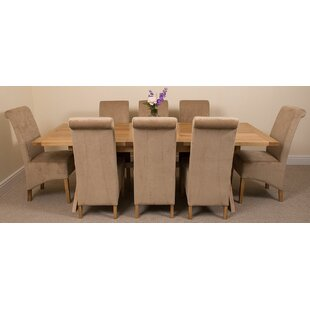 Discount Baldev Kitchen Solid Oak Dining Set With 8 Chairs