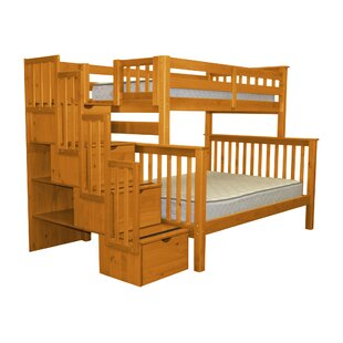 Bedz King Stairway Twin over Full Bunk Bed with Storage