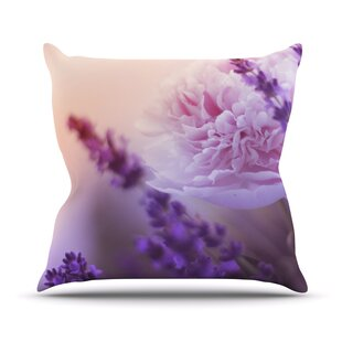 Peonyand Lavender Throw Pillow