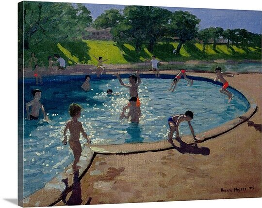 \'Swimming Pool\' by Andrew Macara Painting Print on Canvas