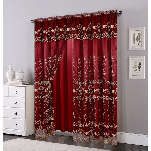 Juliette Design Lined Curtains Floral Embroidery Pencil Pleated Curtain Pairs