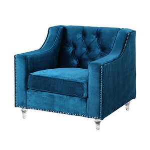 Dylan Silver Nailhead Trim Button Tufted Armchair by Iconic Home