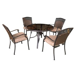 Portis 5 Piece Dining Set with Cushions b..