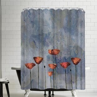 Grab My Art Poppy Flower Meadow Single Shower Curtain
