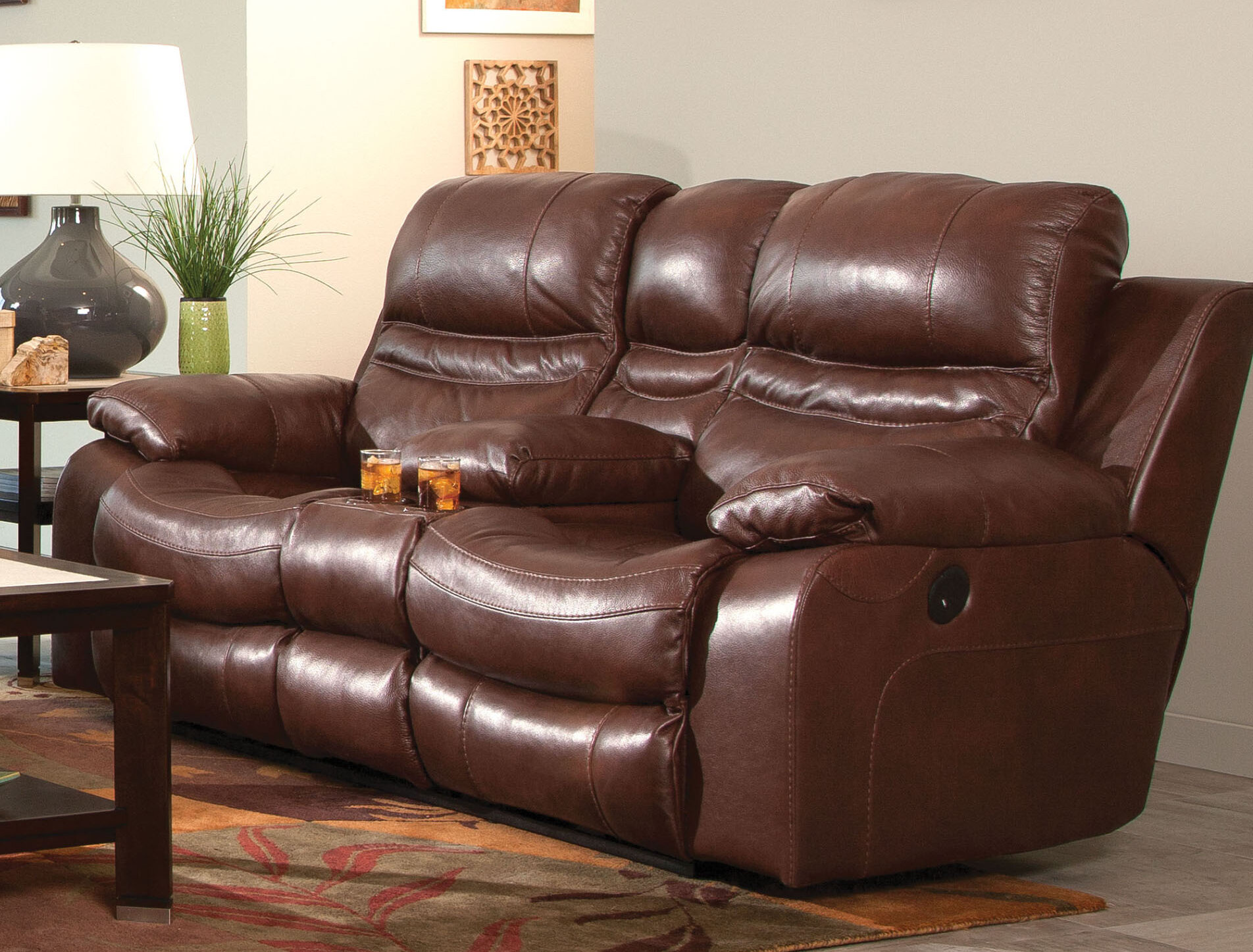 Miraculous Patton Leather Reclining Loveseat Squirreltailoven Fun Painted Chair Ideas Images Squirreltailovenorg