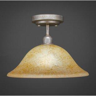Kash 1-Light Italian Marble Glass Semi-Flush Mount by Williston Forge