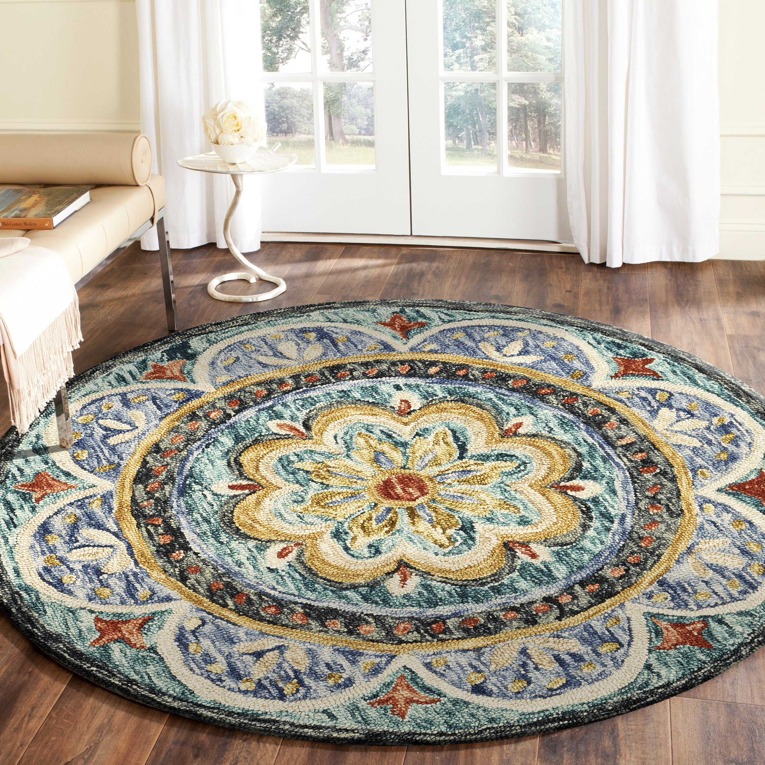 Canora Grey Round Padula Floral Hand Tufted Wool Brown Blue Beige Area Rug Reviews Wayfair