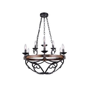 Morden 9-Light LED Wagon Wheel Chandelier by CWI Lighting