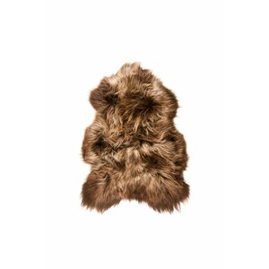 Anton Long-Haired Hand-Woven Sheepskin Rusty Brisa Area Rug