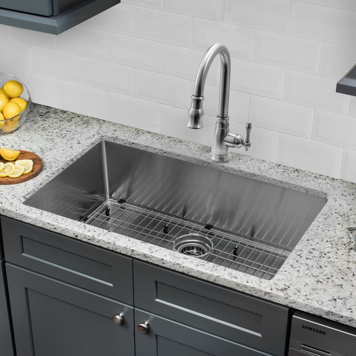Radius 16 Gauge Stainless Steel 32\'\' x 19\'\' Single Bowl Undermount Kitchen  Sink with Faucet and Soap Dispenser