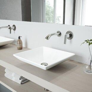 Hibiscus Stone Square Vessel Bathroom Sink with Faucet VIGO