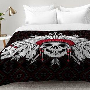 Geometric Indian Skull Comforter Set by East Urban Home