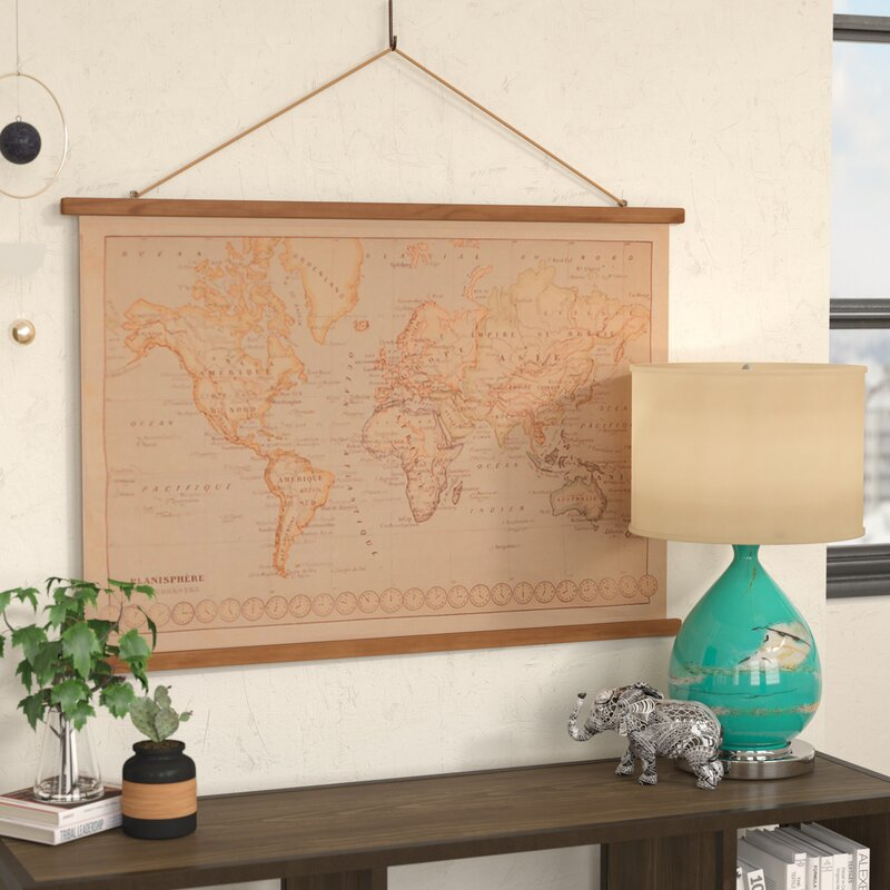 Bungalow rose canvas printed world map wall hanging wayfair canvas printed world map wall hanging gumiabroncs Image collections