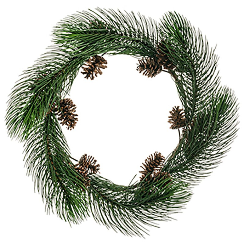 The Holiday Aisle Long Needle Pine With Pinecone 30 Pvc Wreath Wayfair