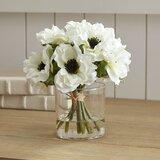 White Anemone Short Bouquet in Glass Vase