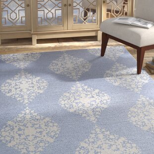 Best Orkney Ornament Hand-Woven Blue/White Area Rug ByBungalow Rose
