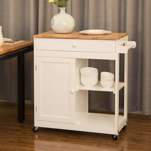Courtois Kitchen Island with Rubberwood Top August Grove