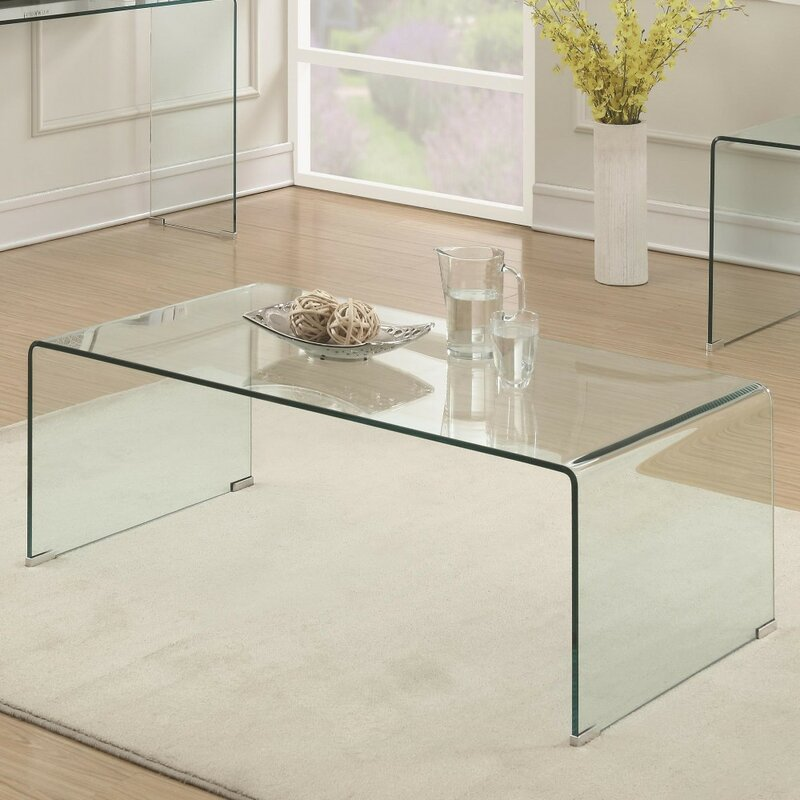 Ivy Bronx Premont Contemporary Minimal Clear Glass Coffee Table