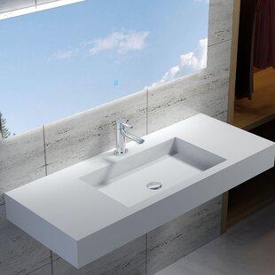 Best Rectangular Stone 47 Wall Mount Bathroom Sink By InFurniture