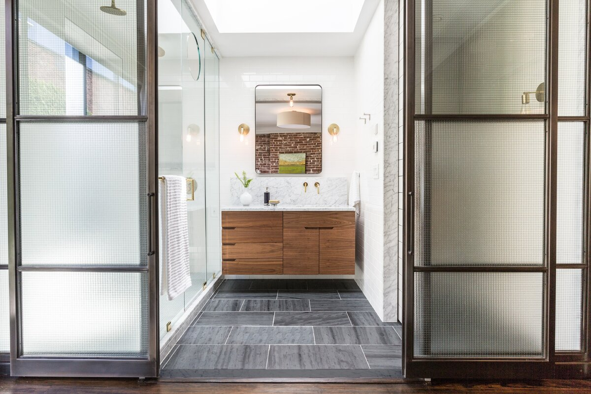 Industrial Bathroom Design Photo by Mowery Marsh Architects