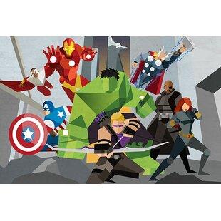 Marvel Comics Avengers Assmeble Geometric: Avengers Graphic Art On Canvas