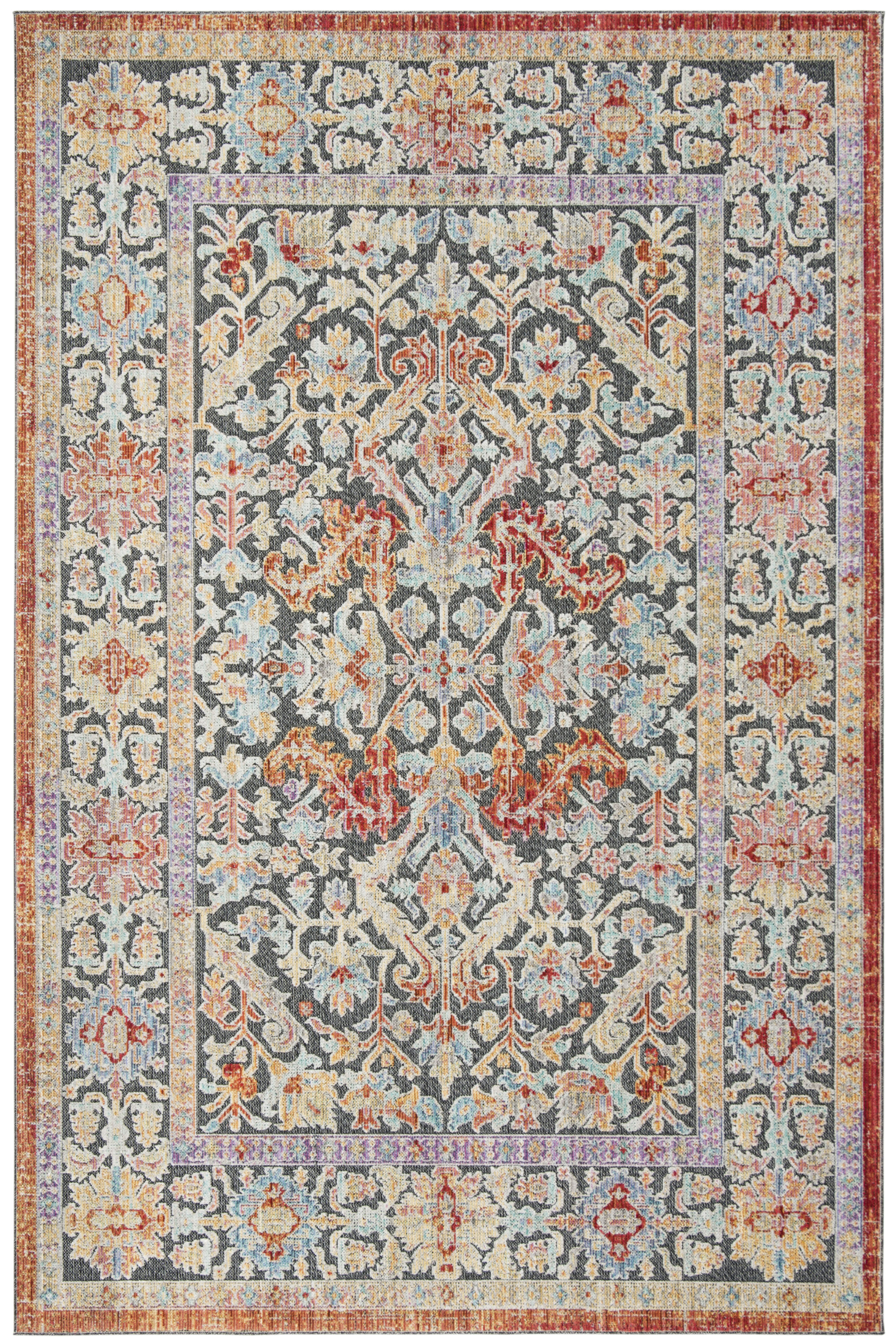 World Menagerie Younes Oriental Cream Gray Red Area Rug Wayfair