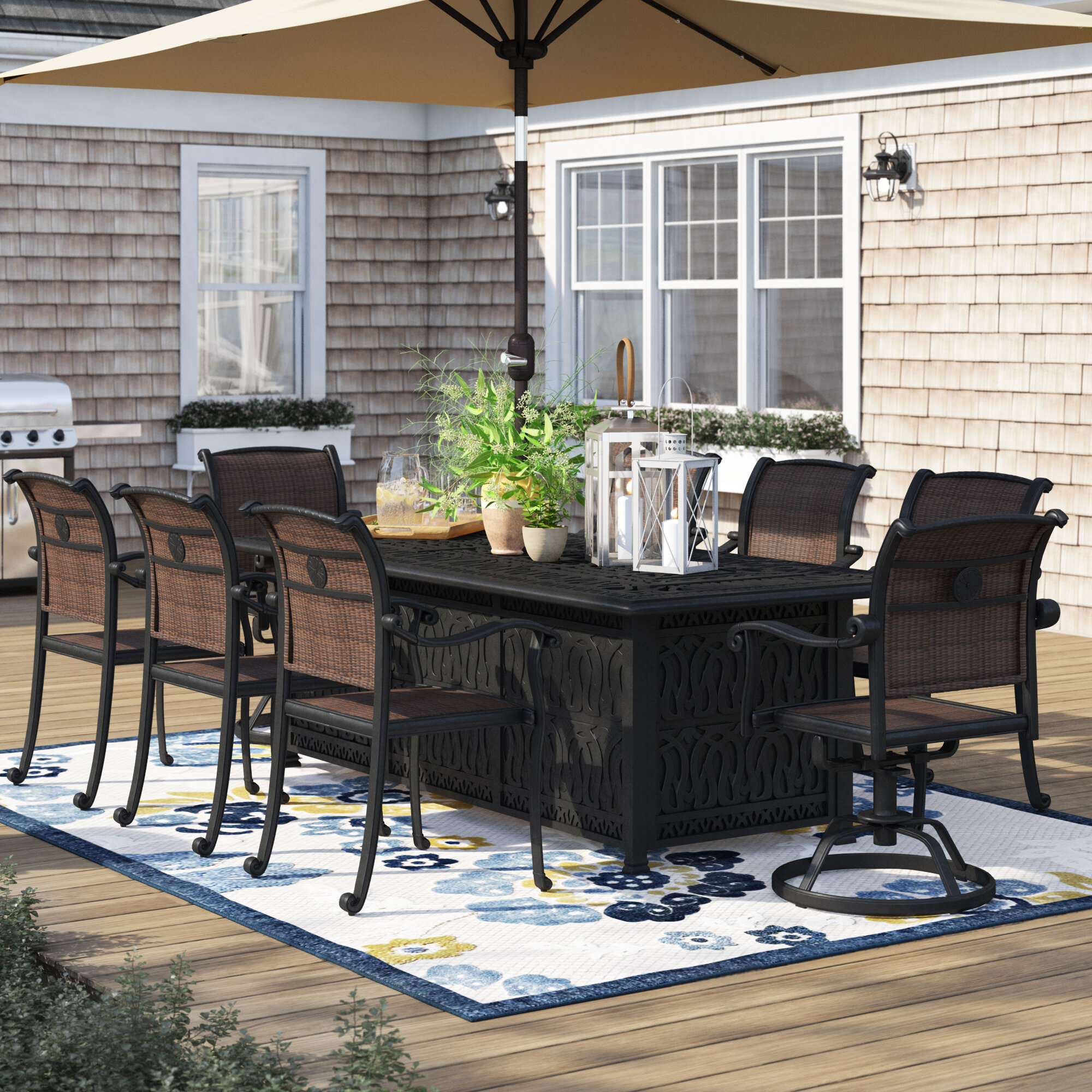 Sol 72 Outdoor Harland 9 Piece Dining Set With Firepit Wayfair