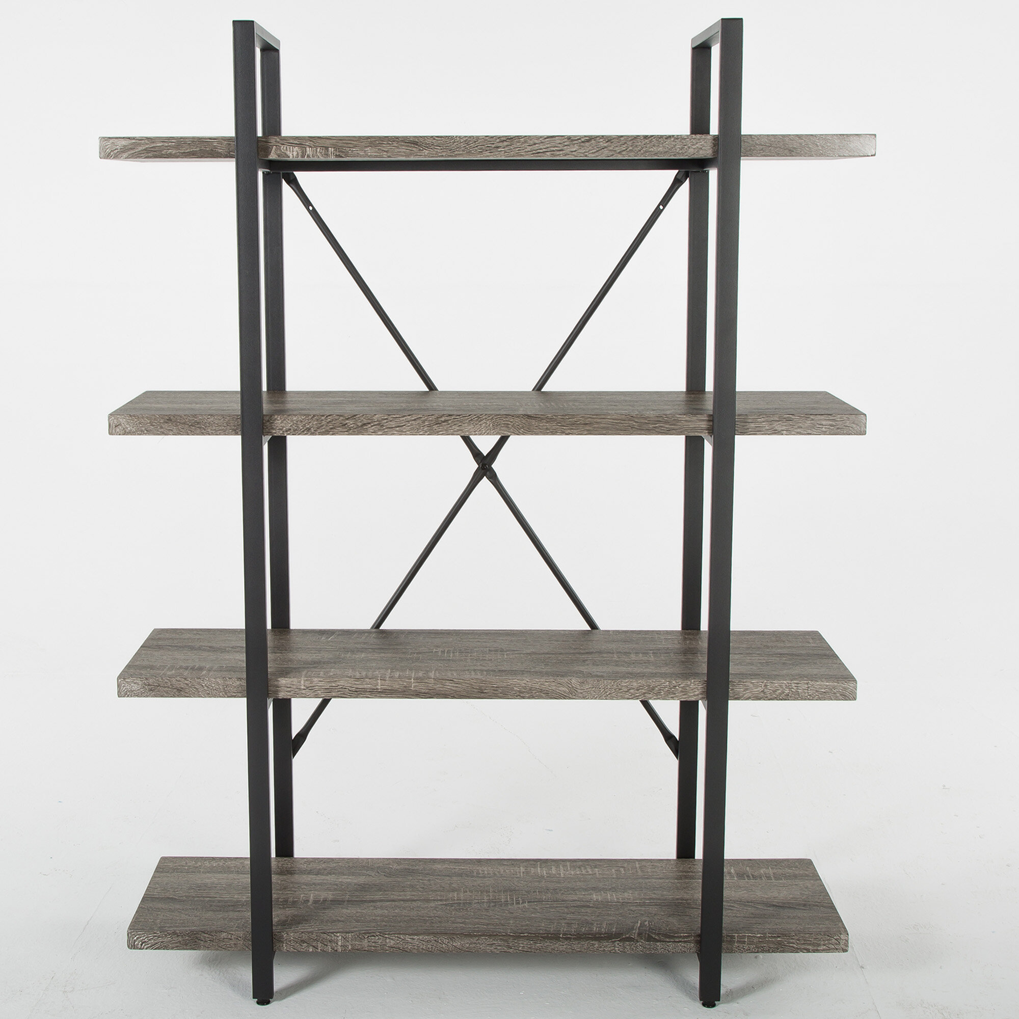Ranck 4 Tier Rustic Industrial Wood And Metal Etagere Bookcase