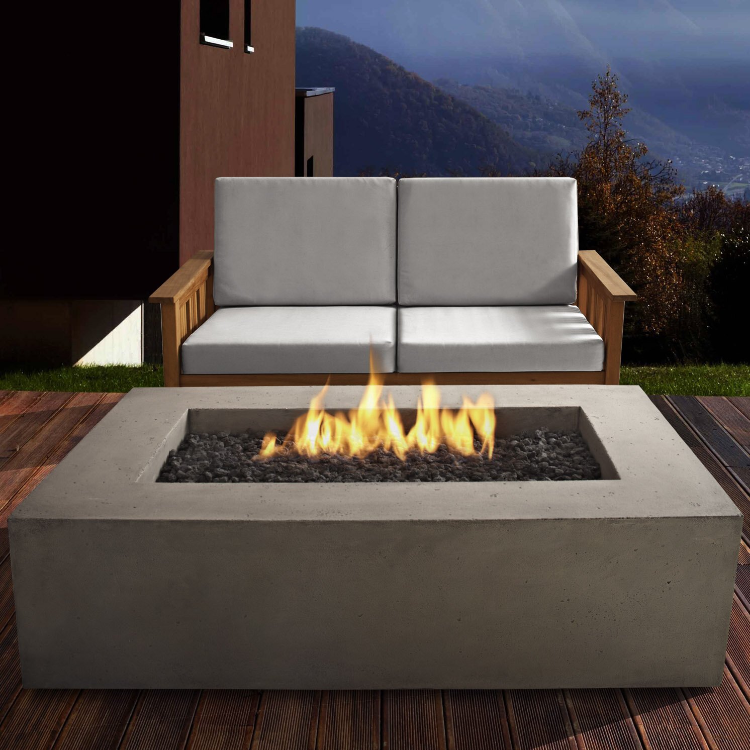 Real Flame Baltic Concrete Propane Fire Pit Table Reviews Wayfair