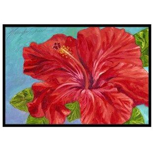 Red Hibiscus Doormat by Caroline's Treasures