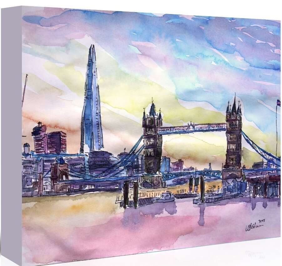 East Urban Home London England The Shard And Tower Bridge 2 Painting On Wrapped Canvas