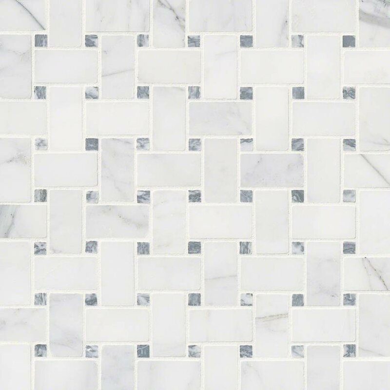 Calacatta Cressa Basketweave Honed Marble Mosaic Tile In White