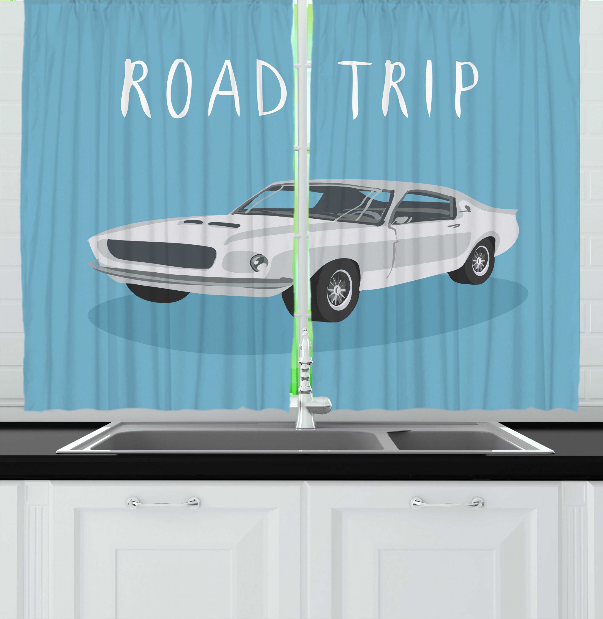 East Urban Home 2 Piece Road Trip Retro Style Typography On Classic Sport Car Coupe Drive Fast Lane Kitchen Curtain Set Wayfair
