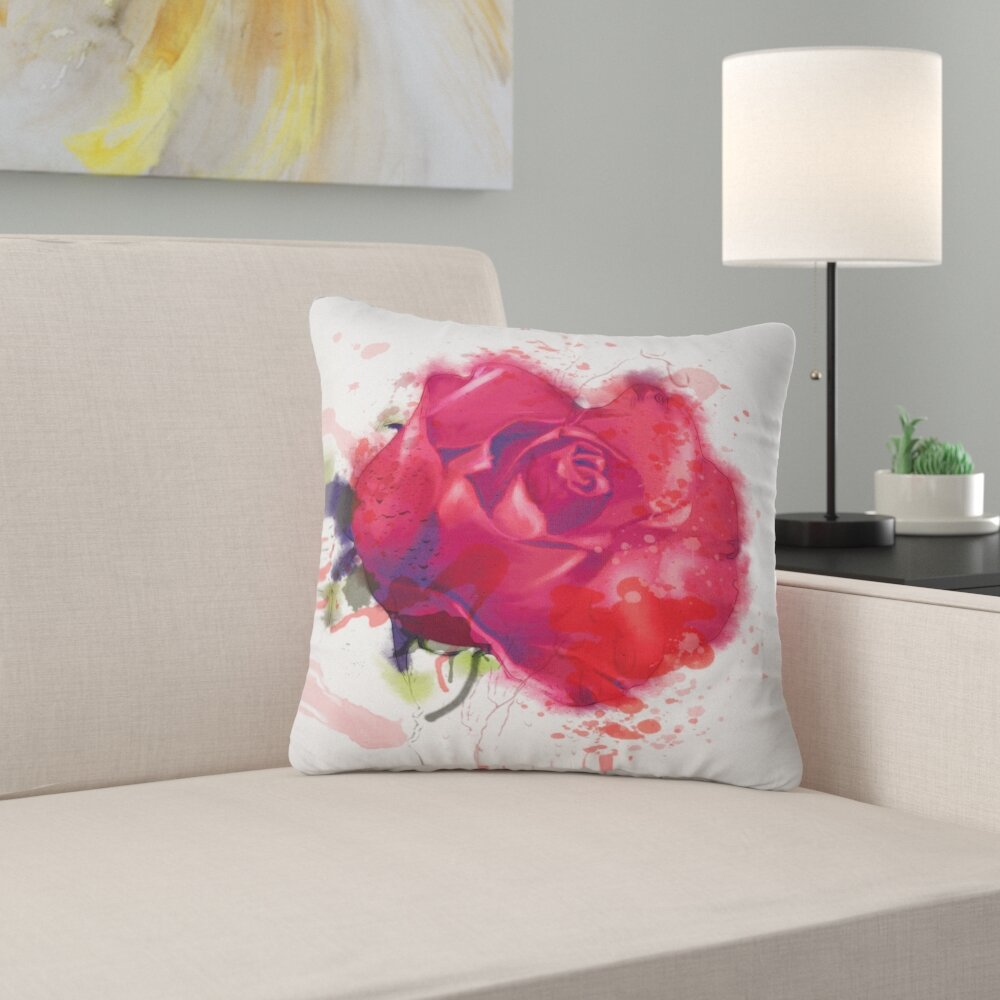 East Urban Home Floral Beautiful Rose Pillow Wayfair