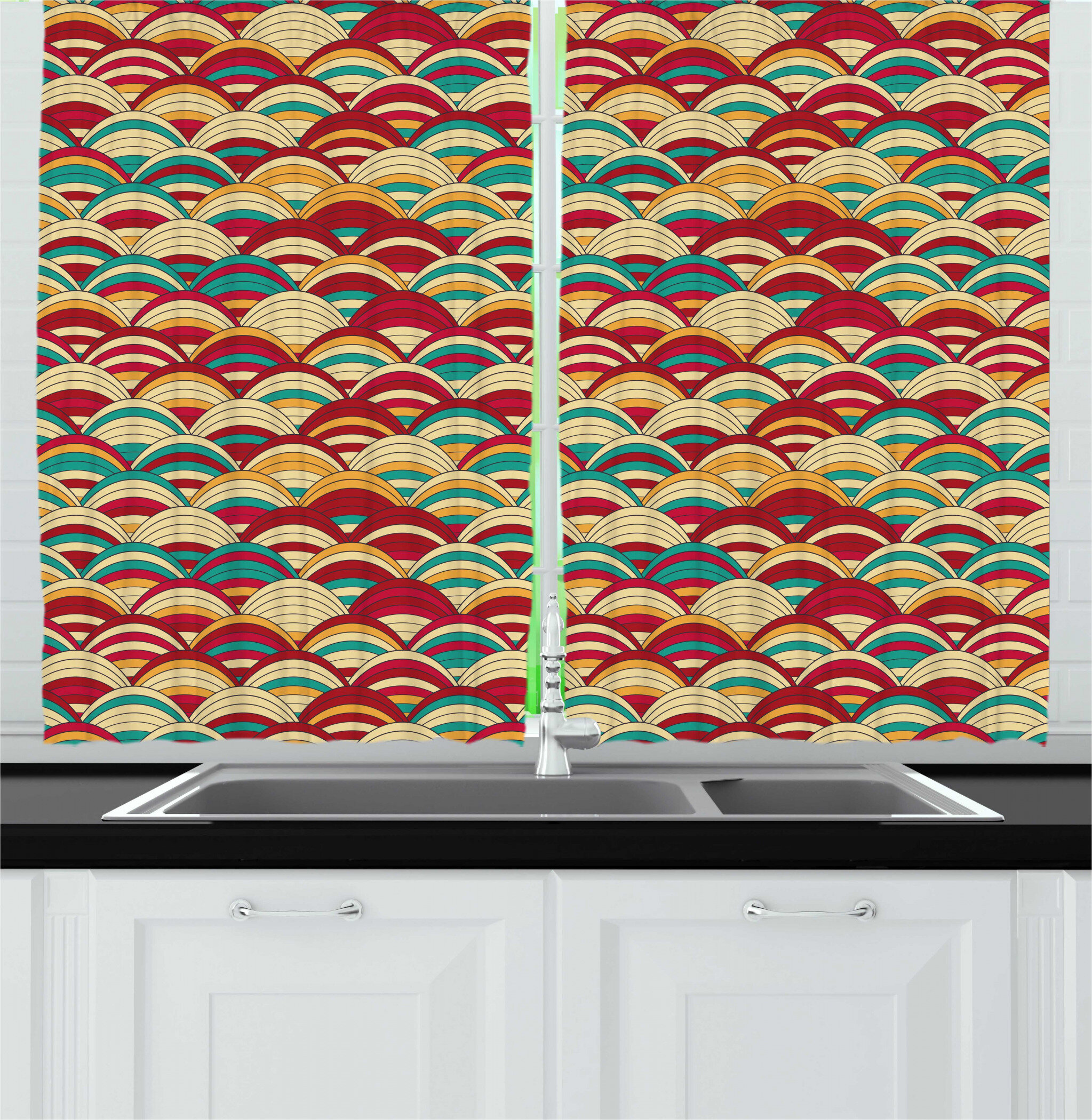 East Urban Home Scale Repeated Pattern Of Striped Squama In Retro Style Kitchen Curtain Wayfair